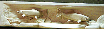 Zoomed Kirby Linjer's Carved Trout Wooden Fireplace Mantel