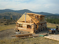 Picture of a Cabin Being Built with AkerWoods Logs from Customer: Linda Odell
