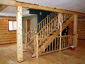 Log Railings and Stairs Shown, made from Ponderosa Pine