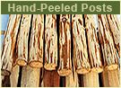 Hand-Peeled Posts from Ponderosa Pine, Eastern Red Cedar, Aspen, and Birch